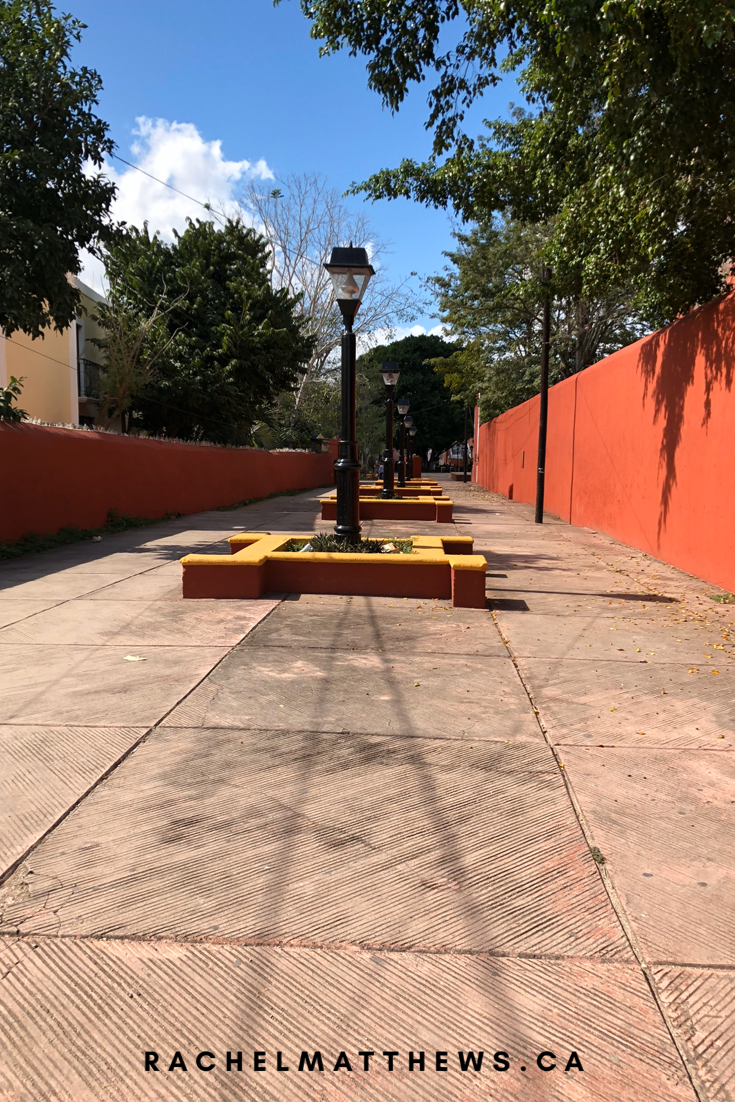 The pathway from La Aurora Hotel colonial in Valladolid, Mexico to beautiful, little Candelara Park
